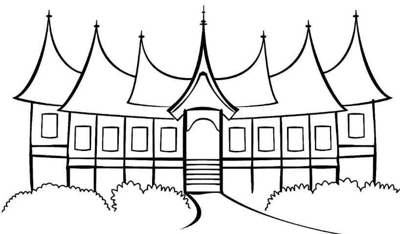 Gambar Sketsa Rumah Adat Sederhana