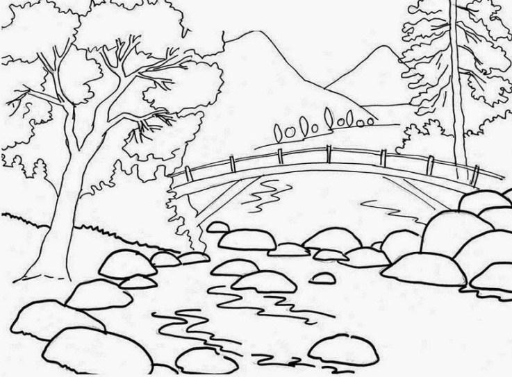 Gambar Sketsa Sederhana Pemandangan Alam