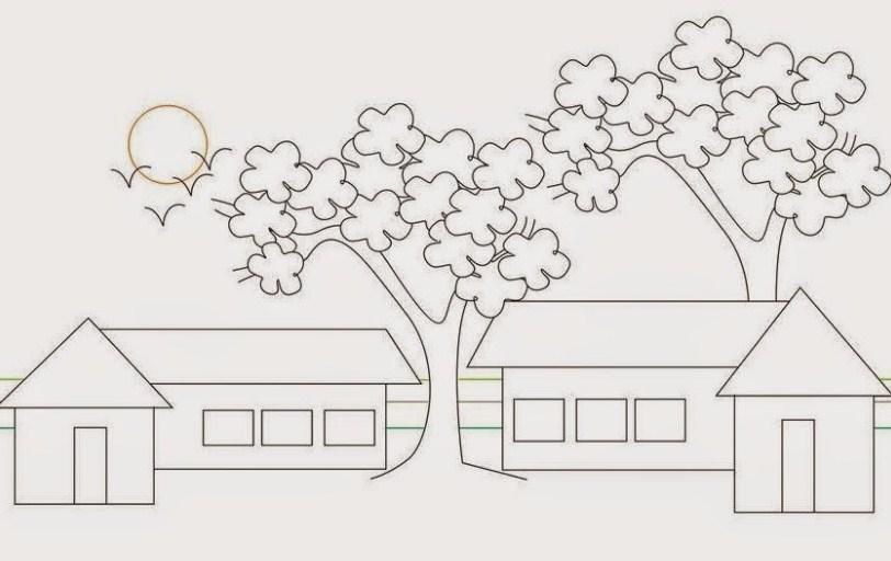 Gambar Sketsa Sekolah Sederhana