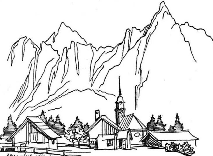 Gambar Sketsa Tentang Gunung