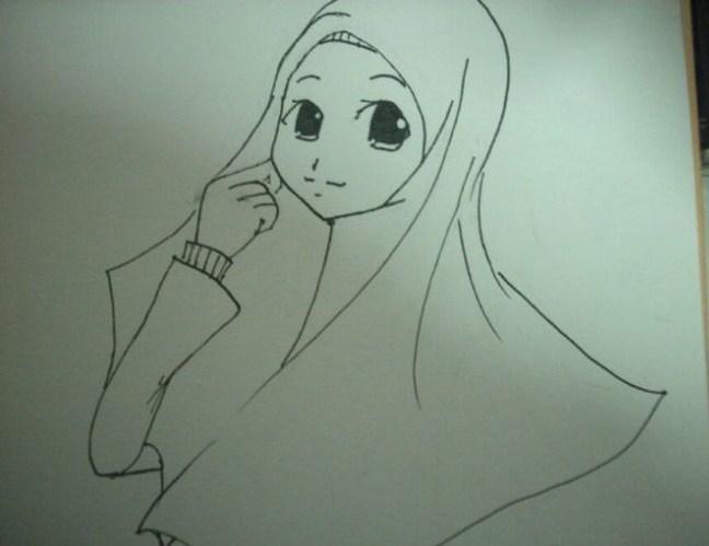 Gambar Sketsa Wajah Wanita Muslimah
