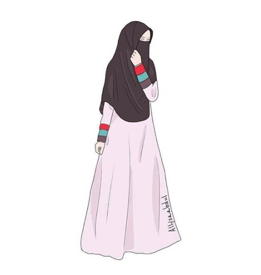 Gambar Sketsa Wanita Muslimah Bercadar Bingkaigambar Com