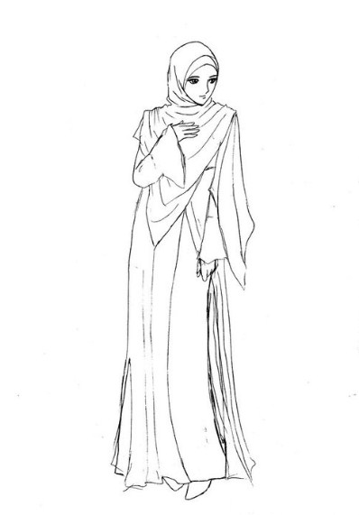 Gambar Sketsa Wanita Muslimah