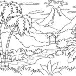 Kumpulan Gambar Sketsa Gunung Meletus