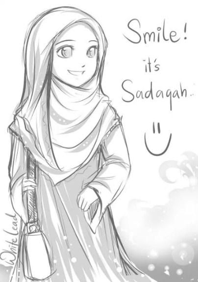 20 Gambar Sketsa Muslimah Terlengkap Mudah Di Tiru Bingkaigambarcom