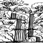 Sketsa Air Terjun Hitam Putih
