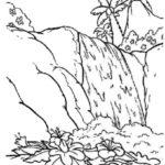 Sketsa Air Terjun Sederhana