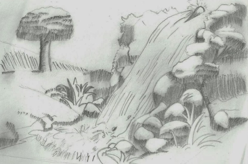 Sketsa Air Terjun Yang Indah