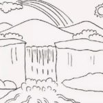 Sketsa Air Terjun Yang Mudah