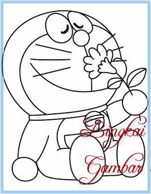 Sketsa Doraemon Pegang Bunga