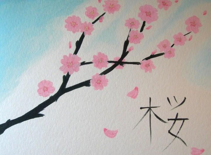 Sketsa Gambar Bunga Sakura Berwarna