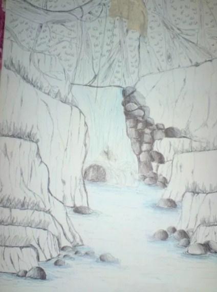 Sketsa Gambar Gunung Dan Air Terjun