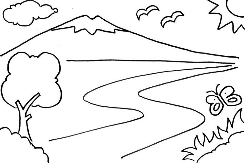 Sketsa Gambar Gunung Dan Jalan