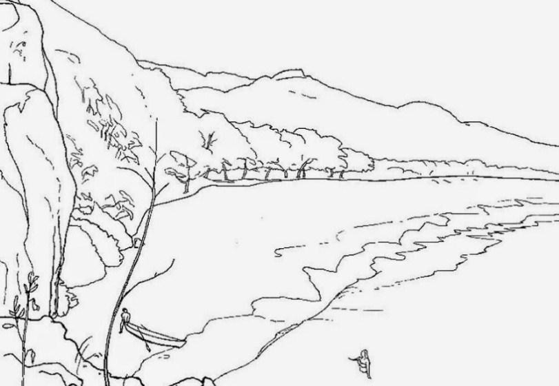 Sketsa Gambar Gunung Dan Laut