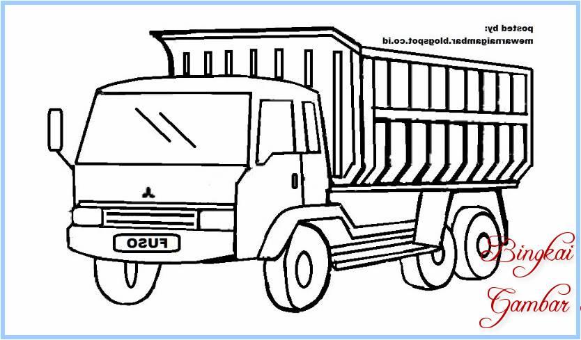 Sketsa Gambar Mobil Truk