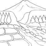 Sketsa Gambar Pegunungan Yang Indah