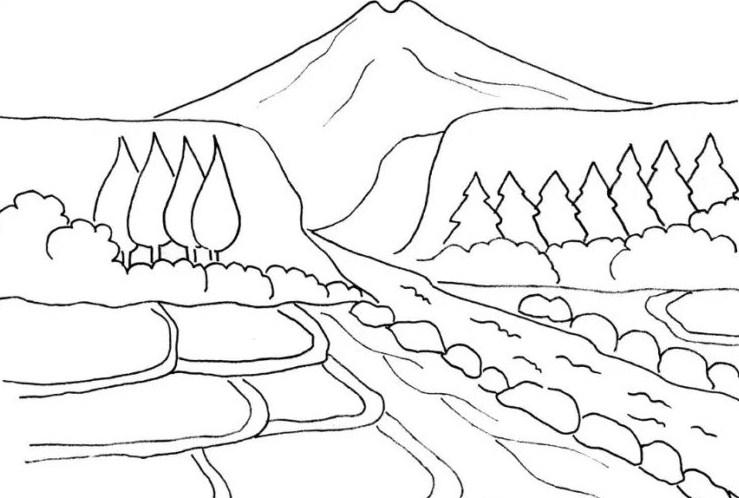 Sketsa Gambar Pegunungan Yang Indah Bingkaigambar Com