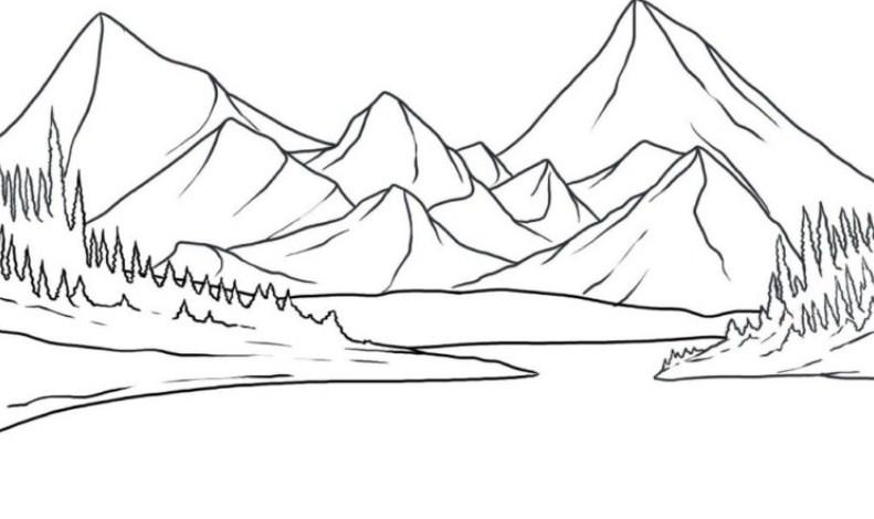 Sketsa Gambar Pegunungan Yang Mudah