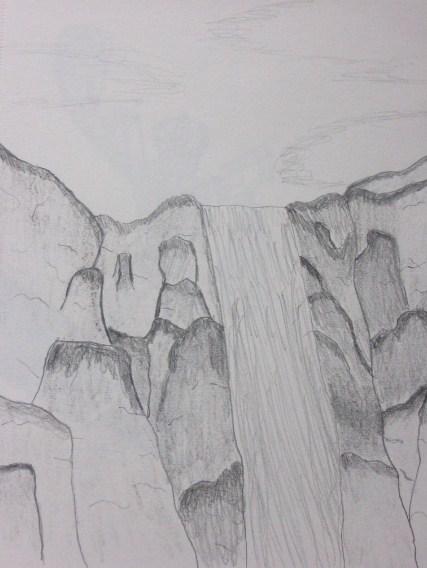 Sketsa Gambar Pemandangan Alam Air Terjun