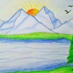 Sketsa Gambar Pemandangan Alam Berwarna