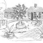 Sketsa Gambar Pemandangan Dan Rumah