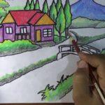 Sketsa Gambar Pemandangan Desa Berwarna