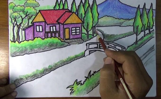 15 Gambar Sketsa Pemandangan Desa Yang Indah Bingkaigambar Com