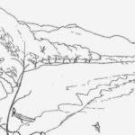 Sketsa Gambar Pemandangan Gunung Dan Laut