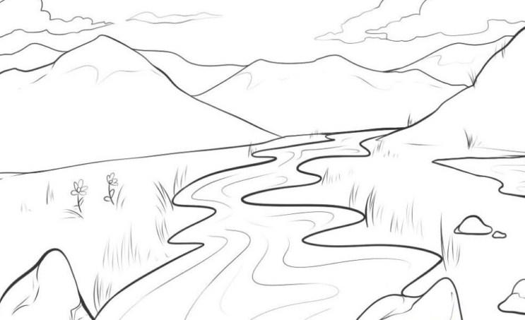 Sketsa Gambar Pemandangan Gunung Yang Mudah