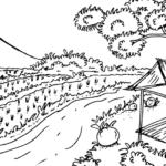 Sketsa Gambar Pemandangan Laut Dan Gunung