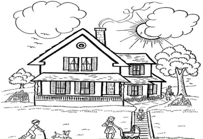 10 Gambar Sketsa Pemandangan Rumah Sederhana Dan Mewah
