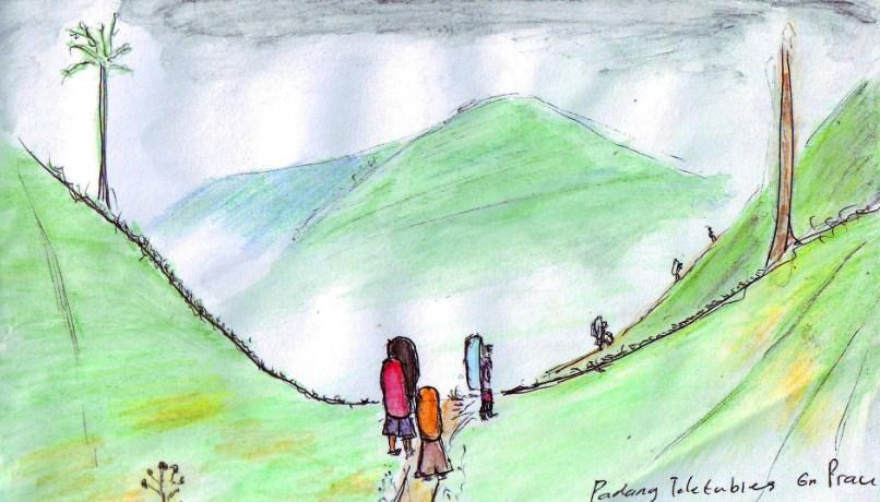 Sketsa Gambar Pendaki Gunung