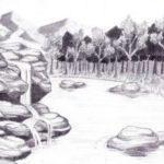 Sketsa Gunung Dan Air Terjun