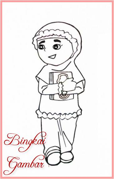 Sketsa Kartun Anak Perempuan