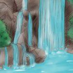 Sketsa Lukisan Pemandangan Air Terjun Yang Mudah