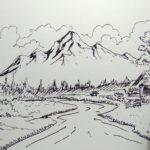 Sketsa Lukisan Pemandangan Desa