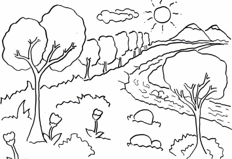 Sketsa Menggambar Pemandangan Gunung
