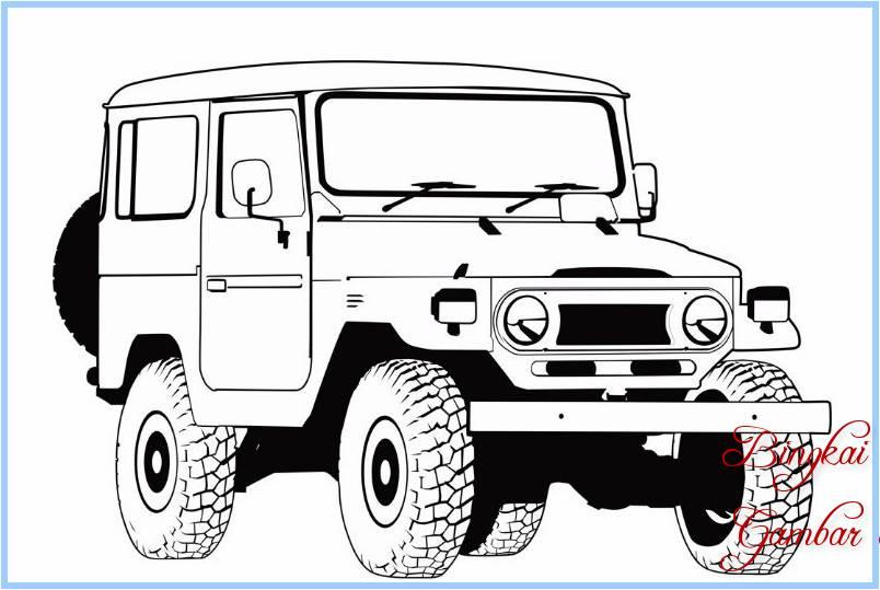 Sketsa Mobil Jeep
