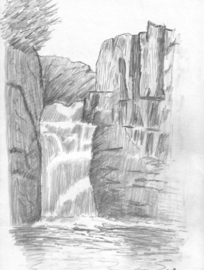 Sketsa Pemandangan Air Terjun Dengan Pensil