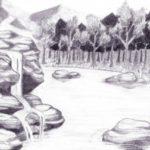 Sketsa Pemandangan Alam Air Terjun