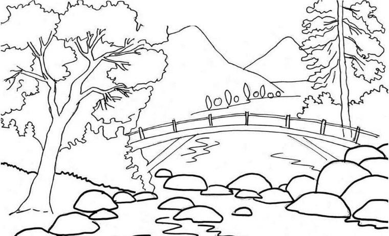 Sketsa Pemandangan Alam Buatan