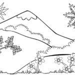 Sketsa Pemandangan Alam Bunga