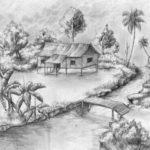 Sketsa Pemandangan Alam Dengan Pensil