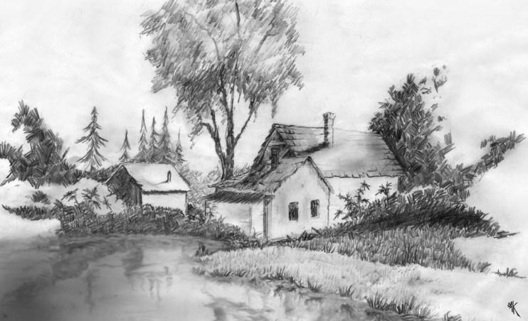 Sketsa Pemandangan Alam Desa