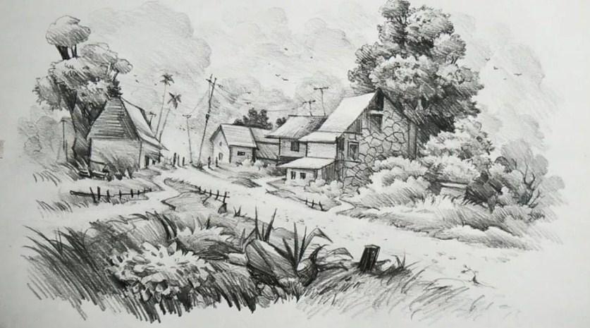 Sketsa Pemandangan Alam Di Desa