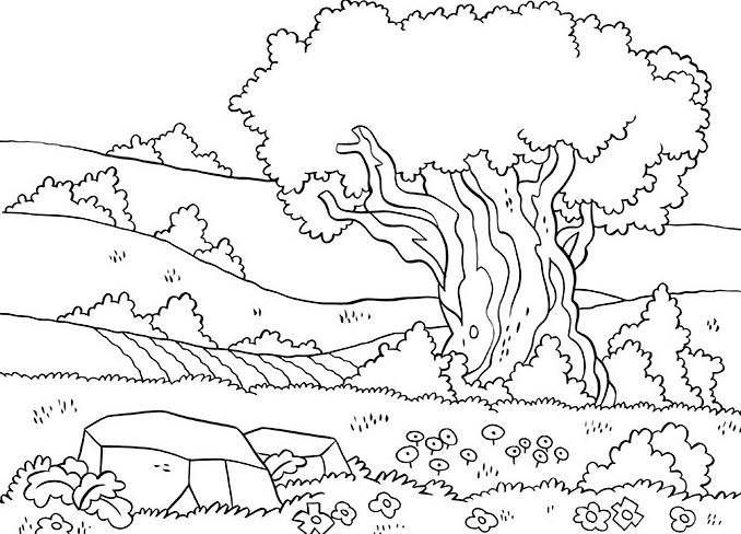 Sketsa Pemandangan Alam Hitam Putih