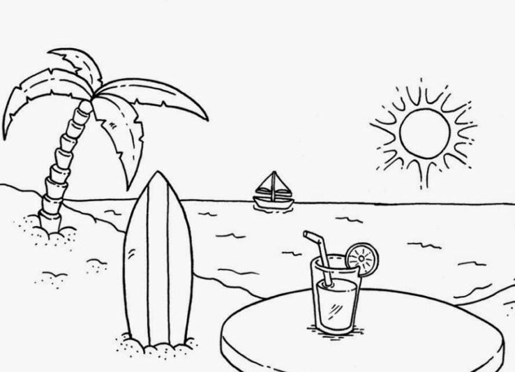 Sketsa Pemandangan Alam Pantai