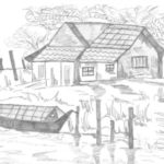 Sketsa Pemandangan Dan Rumah