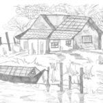 Sketsa Pemandangan Desa