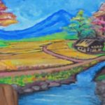 Sketsa Pemandangan Desa Berwarna